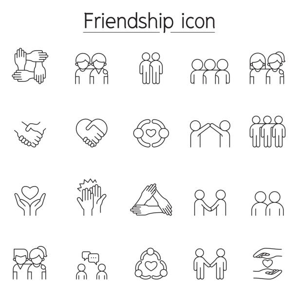 Friendship icon set in thin line style Friendship icon set in thin line style holding hands stock illustrations