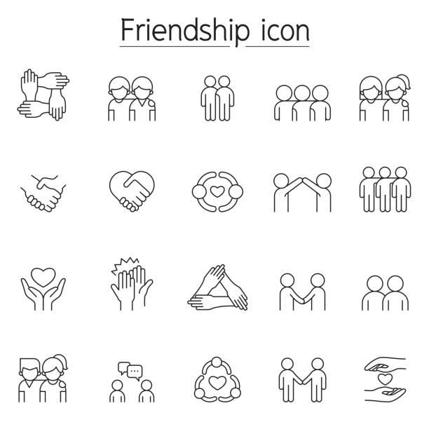 stockillustraties, clipart, cartoons en iconen met vriendschapspictogram dat in dunne lijnstijl wordt geplaatst - drie personen