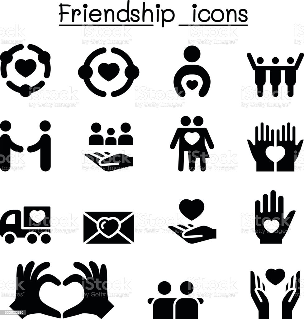 Friendship icon set vector art illustration