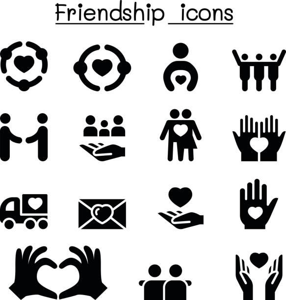 ilustrações, clipart, desenhos animados e ícones de conjunto de ícones de amizade - hug