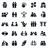 An icon set of friends showing forth friendship and camaraderie between one another. They include hugs, arms around shoulders, high fives, selfies, holding hands, social network, assistance, handshake, waving, fist bump, eating out together, lifting up and support to name a few.