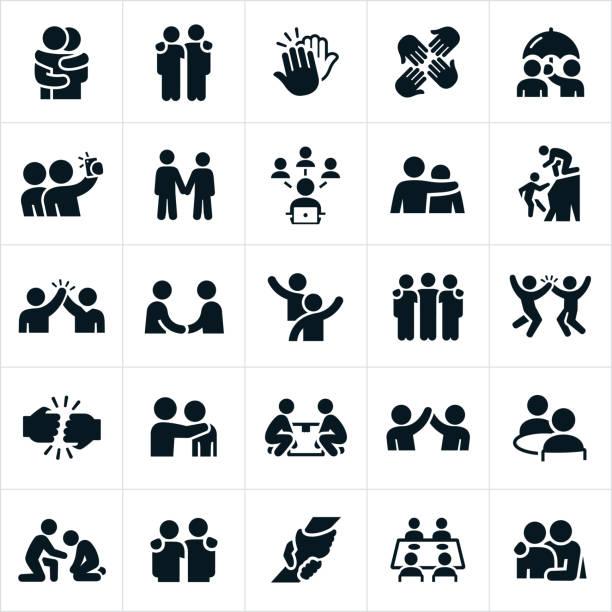 ikony przyjaźni - przyjaźń stock illustrations