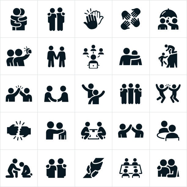 Friendship Icons An icon set of friends showing forth friendship and camaraderie between one another. They include hugs, arms around shoulders, high fives, selfies, holding hands, social network, assistance, handshake, waving, fist bump, eating out together, lifting up and support to name a few. a helping hand stock illustrations