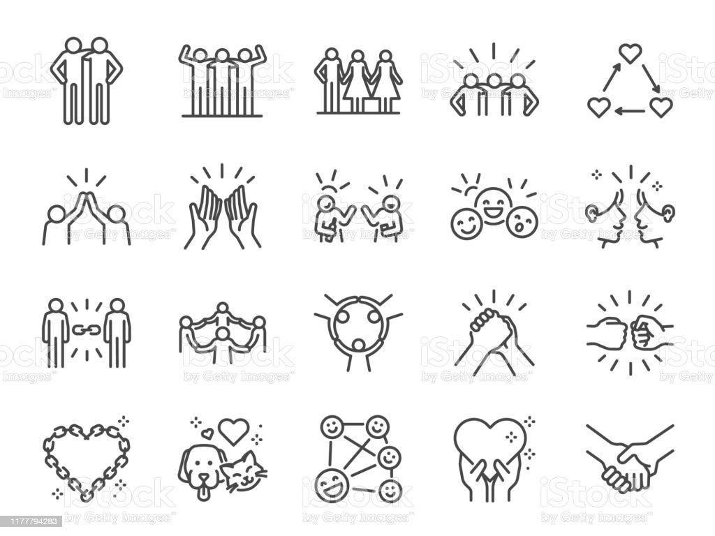友誼線圖示集。包括圖示作為朋友,關係,好友,問候,愛,關心和更多。 - 免版稅一起圖庫向量圖形