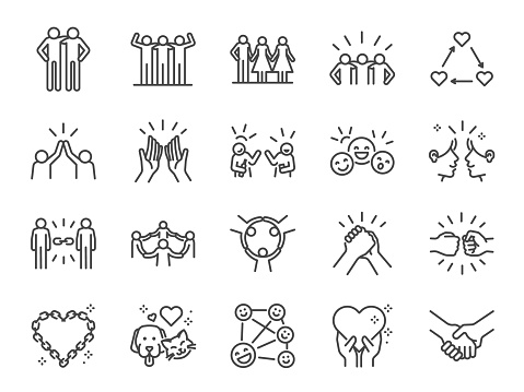 Friendship line icon set. Included icons as friend, relationship, buddy, greeting, love, care and more. clipart