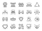Friendship line icon set. Included icons as friend, relationship, buddy, greeting, love, care and more.