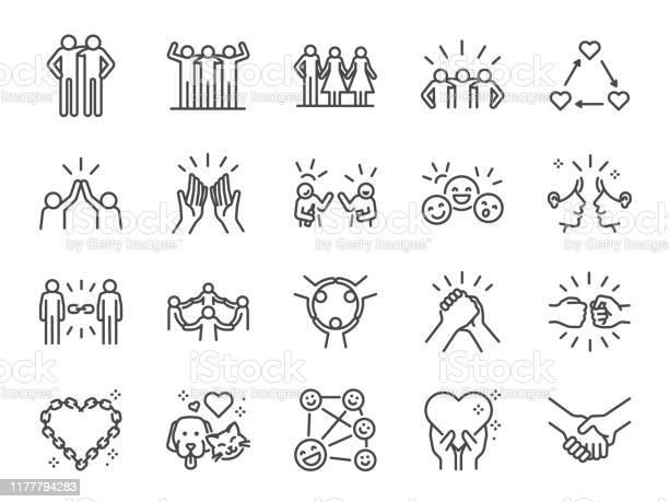 友誼線圖示集包括圖示作為朋友關係好友問候愛關心和更多向量圖形及更多一起圖片