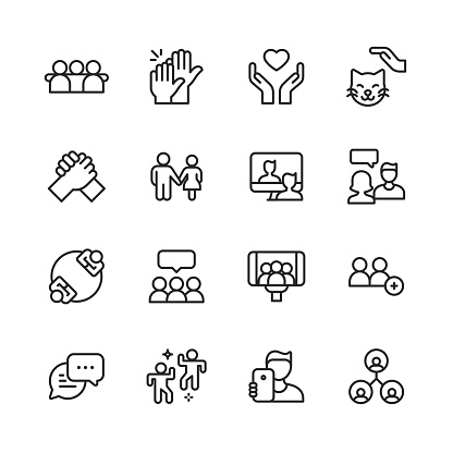Friendship Line Icons. Editable Stroke. Pixel Perfect. For Mobile and Web. Contains such icons as Friend, Party, Handshake, Invitation, Greeting Card, Bonding, Mental Health, High Five, Video Call, Pet, Couple, Relationship, Selfie, Love, Fist Bump.