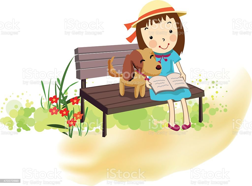 friendship of a girl and her pet dog royalty-free stock vector art