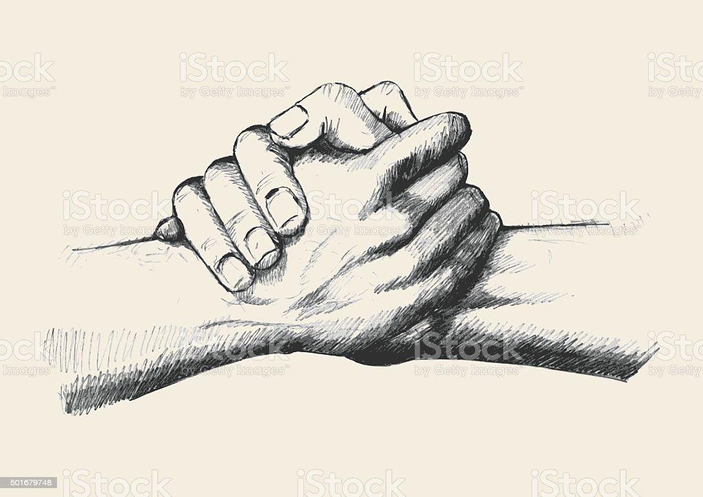 Friendship Or Team Up vector art illustration