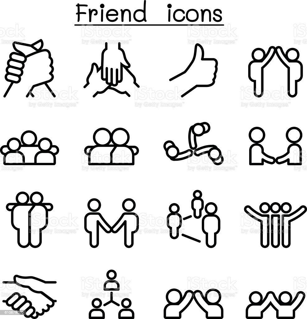 Friendship & Relationship icons in thin line style vector art illustration