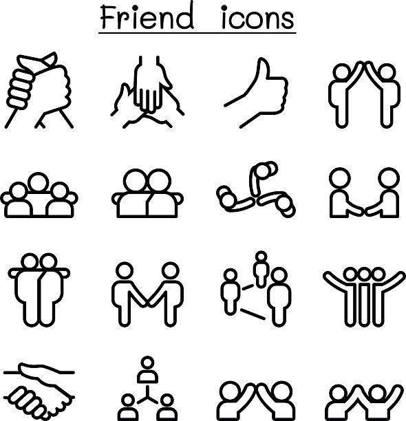 illustrations, cliparts, dessins animés et icônes de friendship & relationship icons in thin line style - époux