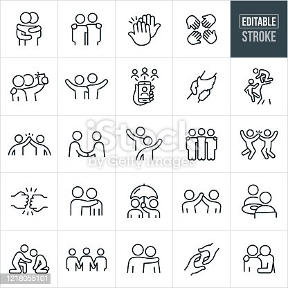 A set of friendship icons that include editable strokes or outlines using the EPS vector file. The icons include many people demonstrating friendship. They include two friends hugging, two people with arms around shoulders, high-five, four hands in, two friends taking a selfie, two friends waving, two friends waving to each other, friends on smartphone using social media, two clasped hands, a friend helping another friend on a cliff, two friends giving a hight five, two friends shaking hands, three people with arms around shoulders, fist bump, person holding umbrella for his friend, two friends having a meal, a friend offering support to another who is sad and additional friendship related icons.