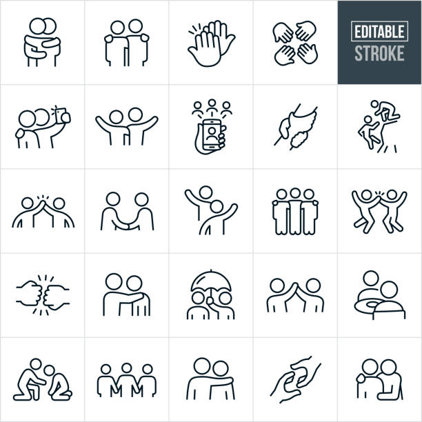 Friendship Thin Line Icons - Editable Stroke A set of friendship icons that include editable strokes or outlines using the EPS vector file. The icons include many people demonstrating friendship. They include two friends hugging, two people with arms around shoulders, high-five, four hands in, two friends taking a selfie, two friends waving, two friends waving to each other, friends on smartphone using social media, two clasped hands, a friend helping another friend on a cliff, two friends giving a hight five, two friends shaking hands, three people with arms around shoulders, fist bump, person holding umbrella for his friend, two friends having a meal, a friend offering support to another who is sad and additional friendship related icons. happiness stock illustrations