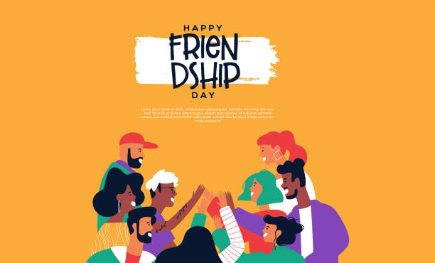 Friendship web template of friends doing high five Happy friendship day landing web page template with diverse friend group of people doing high five together. Young generation on social event holiday. youth culture stock illustrations