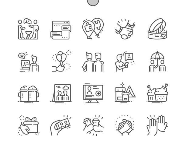 freundschaft gut gemacht pixel perfect vector thin line icons 30 2x grid für web-grafiken und apps. einfaches minimal piktogramm - paararmbänder stock-grafiken, -clipart, -cartoons und -symbole