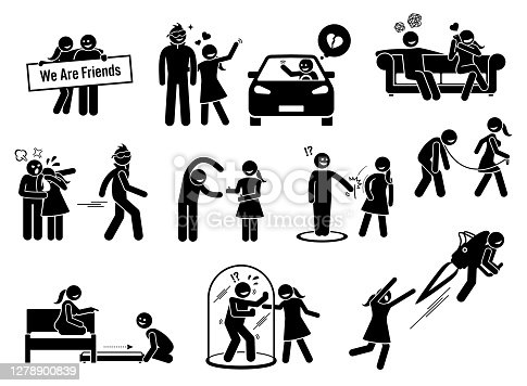 Vector graphics of a man being friend zoned by a girl that he loved.