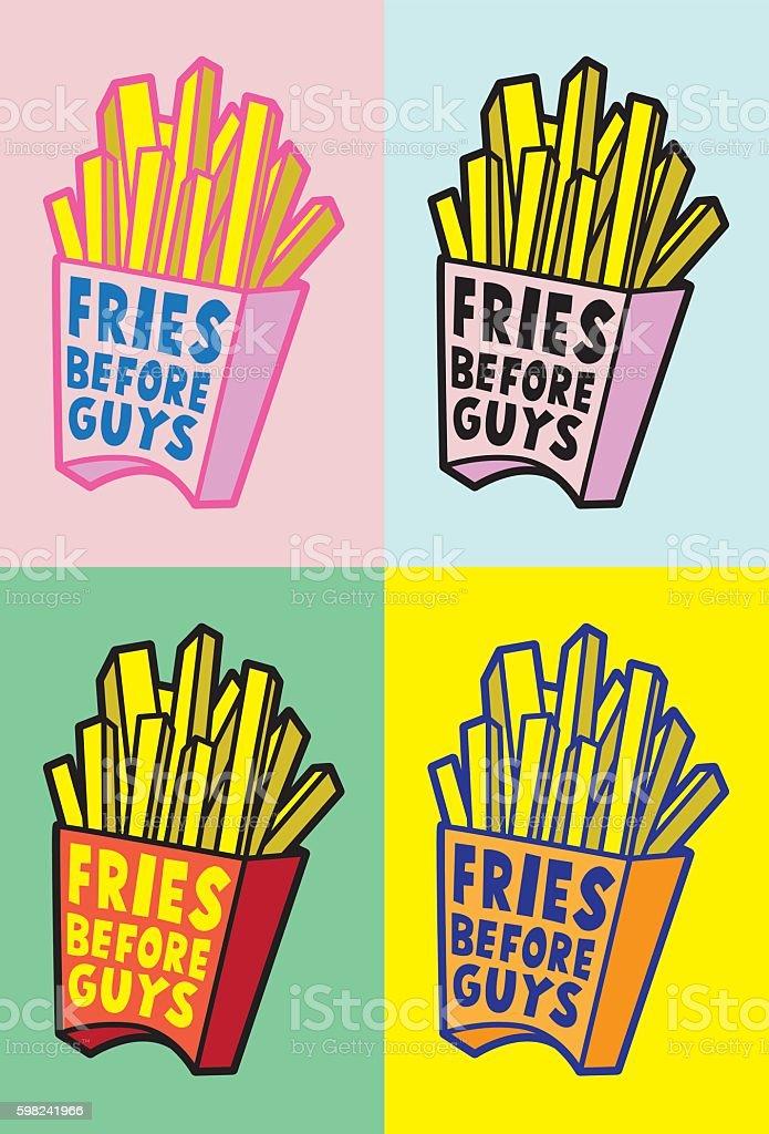 Fries before guys - ilustração de arte em vetor
