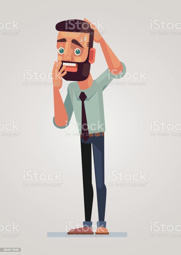 Frightened man character vector art illustration
