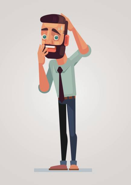 Frightened man character Vector flat cartoon illustration anxiety stock illustrations