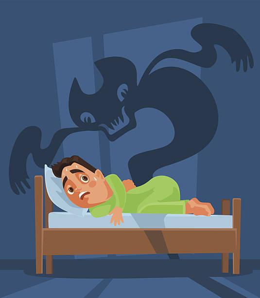 stockillustraties, clipart, cartoons en iconen met frightened man character woke up and nightmare ghost - funeral crying