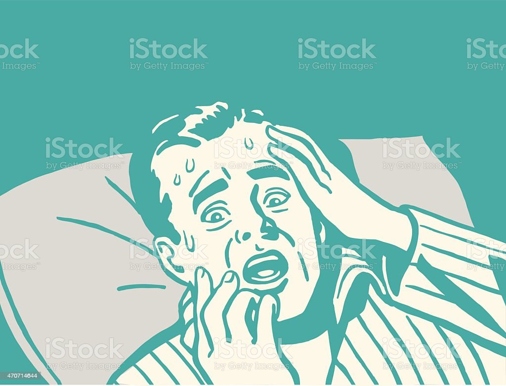 Frightened Man in Bed vector art illustration