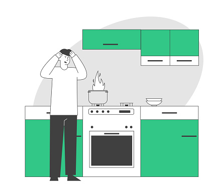 Frightened Man Stand At Oven With Burning Fire In Pan Household Character Every Day Routine Weekend Chores Housekeeping Process Unhappy Culinary Experience Cartoon Flat Vector Illustration Line Art - Arte vetorial de stock e mais imagens de Adulto