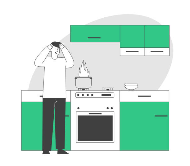 ilustrações de stock, clip art, desenhos animados e ícones de frightened man stand at oven with burning fire in pan. household character every day routine, weekend chores housekeeping process unhappy culinary experience cartoon flat vector illustration, line art - burned cooking