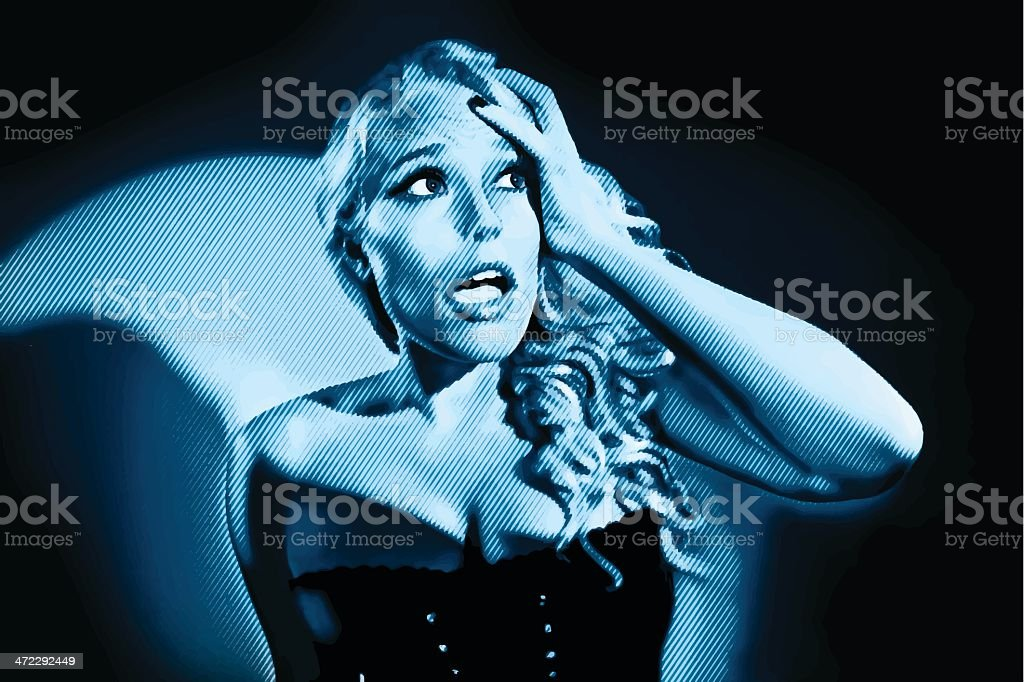 Frightened Woman Film Noir Style royalty-free stock vector art