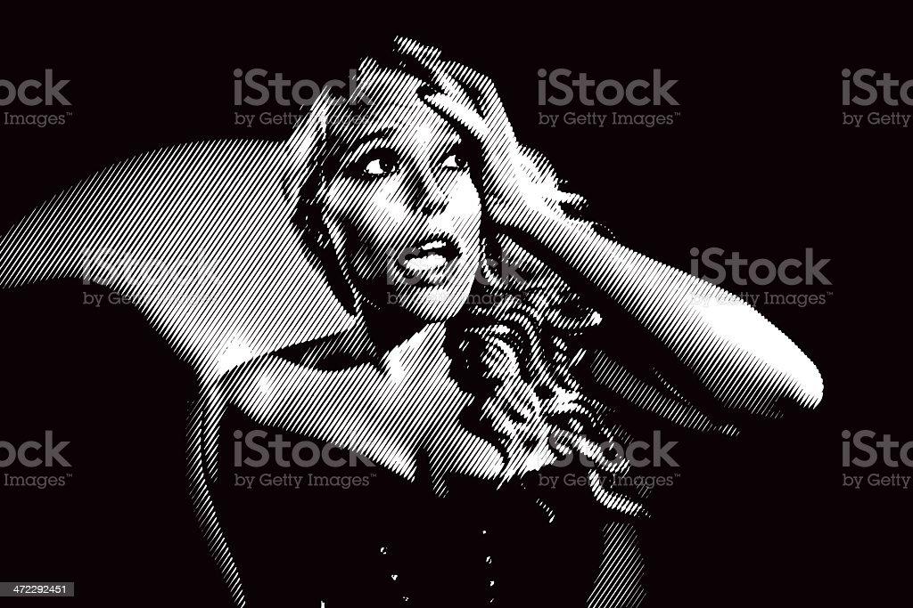 Frightened Woman Film Noir Style vector art illustration