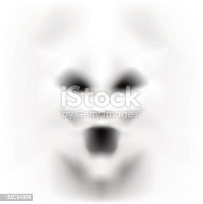 istock Frightening face in white emerging from a white background 135094926