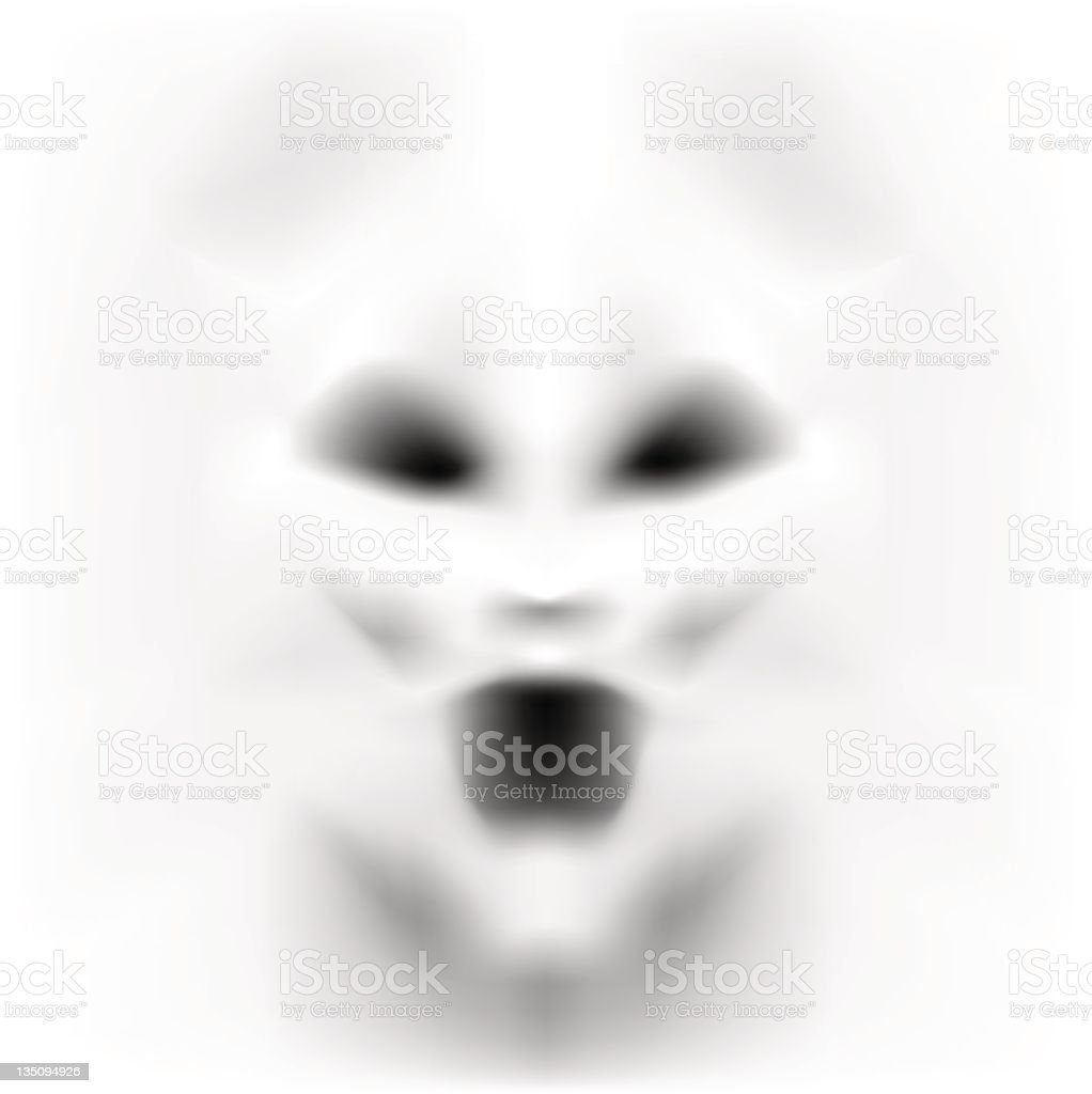 Frightening face in white emerging from a white background vector art illustration