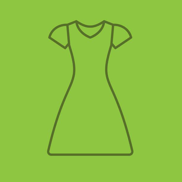 kleid-linear-symbol - damenmode stock-grafiken, -clipart, -cartoons und -symbole