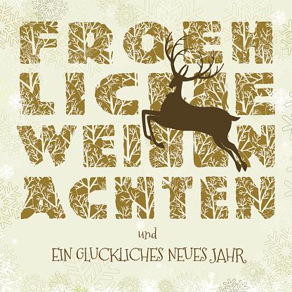 Froehliche weihnachten card reindeer text english
