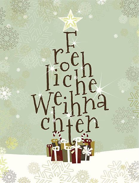froehliche weihnachten tree - weihnachten stock illustrations