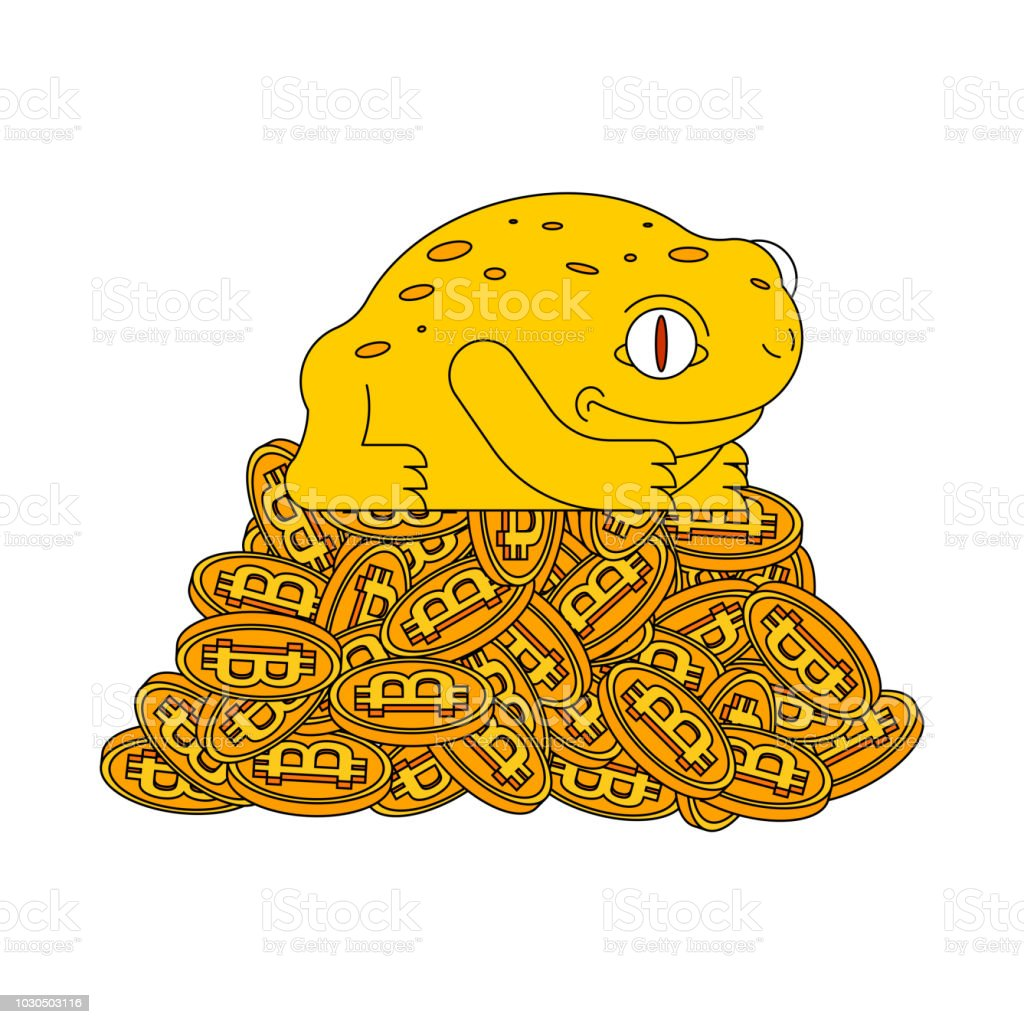 Frog And Bitcoin Chinese Symbol Of Wealth Crypto Currency And Toad