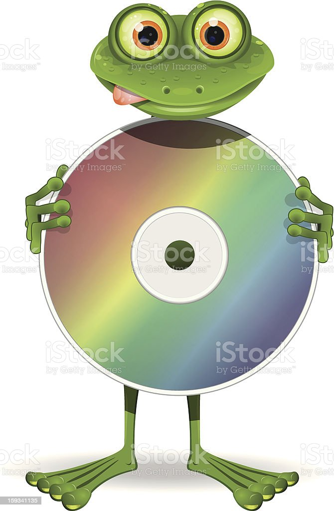 Frog and CD royalty-free stock vector art