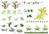 カエルとミモザの資料集。クマと春の風景の素材。春の資料集。春の動物。