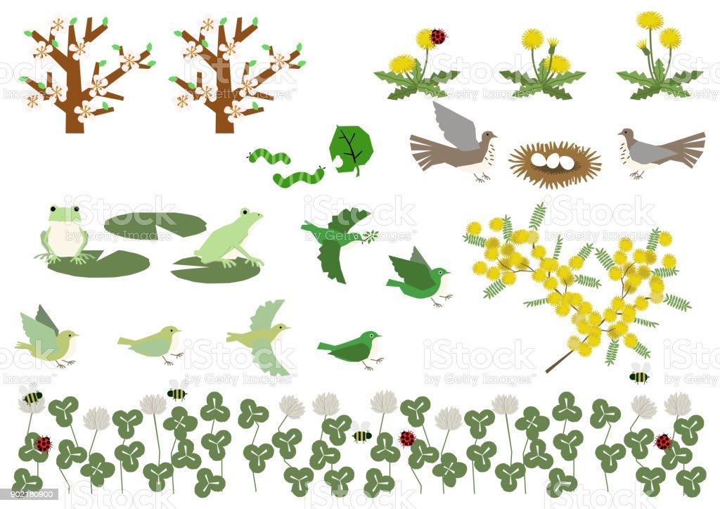 カエルとミモザの資料集。クマと春の風景の素材。春の資料集。春の動物。 ベクターアートイラスト
