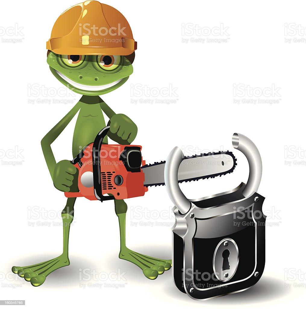 Frog and padlock royalty-free stock vector art