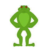 Frog angry. Toad evil emotions avatar. Anuran aggressive. Vector illustration