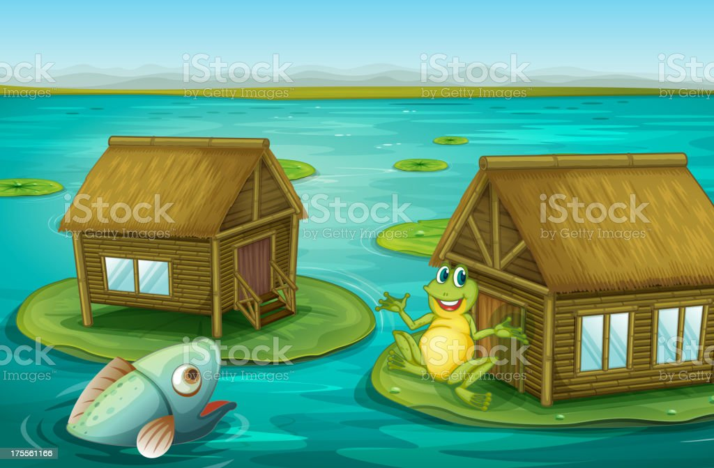 Frog cabin royalty-free stock vector art