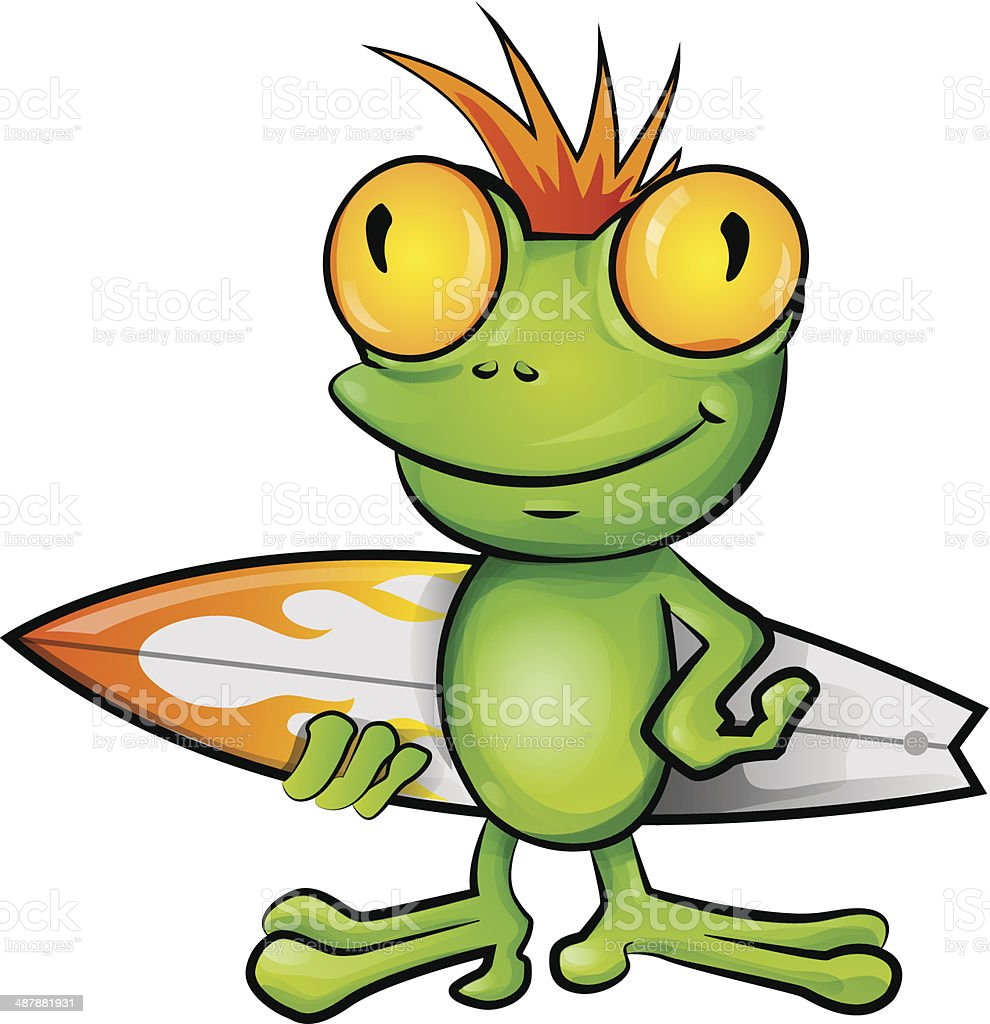 frog cartoon surfer vector art illustration