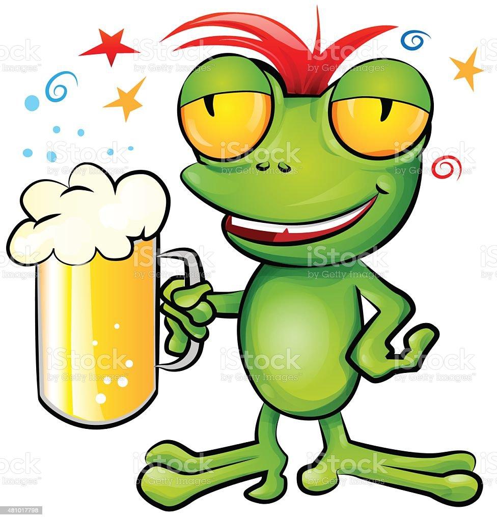 frog cartoon with schooner beer vector art illustration