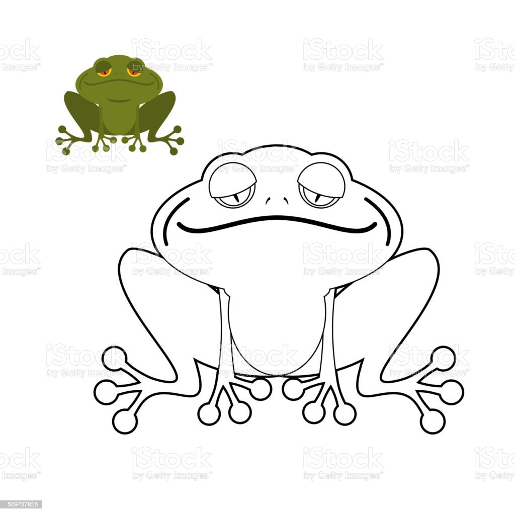 Ilustración de Rana Colorear Libro Gracioso Anfibio Reptil Animal De ...