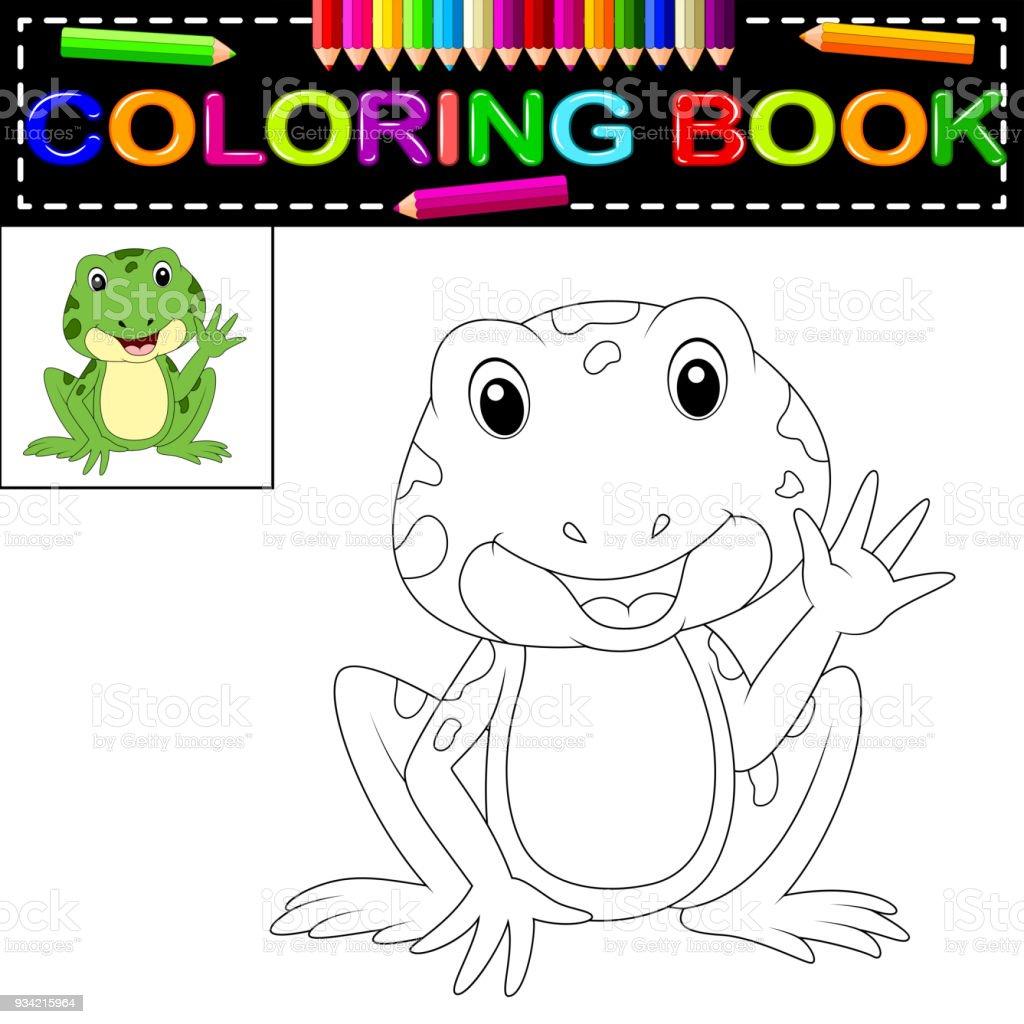Kurbağa Boyama Kitabı Stok Vektör Sanatı Amfibiknin Daha Fazla