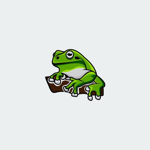 bildbanksillustrationer, clip art samt tecknat material och ikoner med frog design concept illustration vektor mall - wood sign isolated