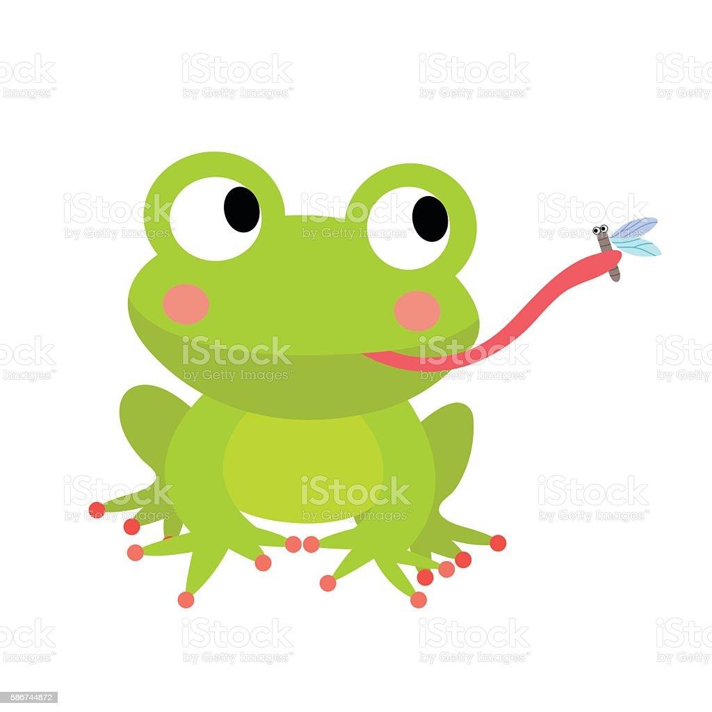 Frog eating fly animal cartoon character vector illustration. vektorkonstillustration