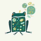Frog - flat hand drawn vector illustration. Cute cartoon character with floral background. Scandinavian style poster, card or t-shirt design