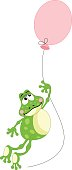 Scalable vectorial image representing a frog flying with balloon, isolated on white.